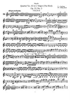 Streichquartett Nr.32 in C-Dur 'Vogelquartett', Hob.III/39 Op.33 No.3: Violinstimme II by Joseph Haydn