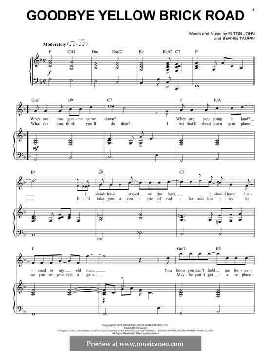 Goodbye Yellow Brick Road: Für Stimme und Klavier by Elton John