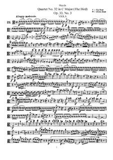 Streichquartett Nr.32 in C-Dur 'Vogelquartett', Hob.III/39 Op.33 No.3: Bratschenstimme by Joseph Haydn