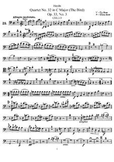 Streichquartett Nr.32 in C-Dur 'Vogelquartett', Hob.III/39 Op.33 No.3: Cellostimme by Joseph Haydn