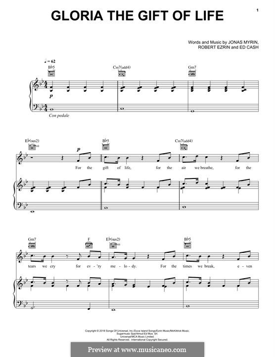 Gloria the Gift of Life (Andrea Bocelli): Für Stimme und Klavier (oder Gitarre) by Bob Ezrin, Ed Cash, Jonas Myrin