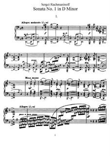 Klaviersonate Nr.1 in d-Moll, Op.28: Für einen Interpreten by Sergei Rachmaninoff