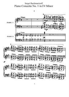 Klavierkonzert Nr.1 in fis-Moll, Op.1: Version für zwei Klaviere, vierhändig by Sergei Rachmaninoff