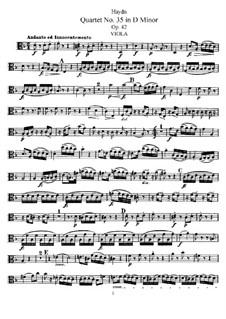 Streichquartett Nr.35 in d-Moll, Hob.III/43 Op.42: Bratschenstimme by Joseph Haydn