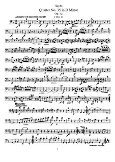 Streichquartett Nr.35 in d-Moll, Hob.III/43 Op.42: Cellostimme by Joseph Haydn