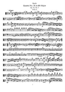 Streichquartett Nr.36 in B-Dur, Hob.III/44 Op.50 No.1: Bratschenstimme by Joseph Haydn