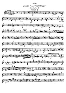 Streichquartett Nr.37 in C-Dur, Hob.III/45 Op.50 No.2: Violinstimme II by Joseph Haydn