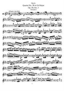 Streichquartett Nr.38 in Es-Dur, Hob.III/46 Op.50 No.3: Violinstimme I by Joseph Haydn