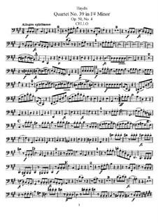 Streichquartett Nr.39 in fis-Moll, Hob.III/47 Op.50 No.4: Cellostimme by Joseph Haydn