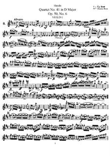 Streichquartett Nr.41 in D-Dur, Hob.III/49 Op.50 No.6: Violinstimme I by Joseph Haydn