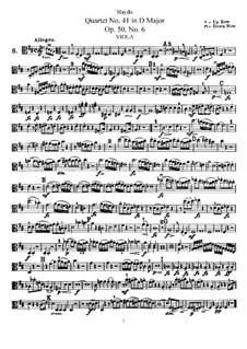 Streichquartett Nr.41 in D-Dur, Hob.III/49 Op.50 No.6: Bratschenstimme by Joseph Haydn