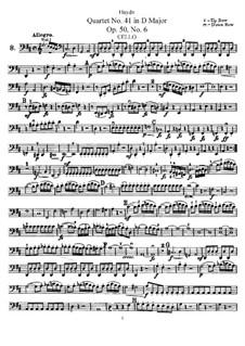 Streichquartett Nr.41 in D-Dur, Hob.III/49 Op.50 No.6: Cellostimme by Joseph Haydn
