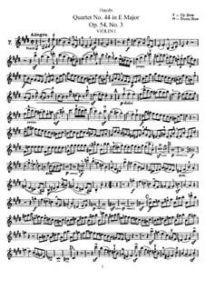 Streichquartett Nr.44 in E-Dur, Hob.III/59 Op.54 No.3: Violinstimme I by Joseph Haydn