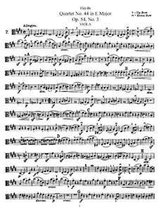 Streichquartett Nr.44 in E-Dur, Hob.III/59 Op.54 No.3: Bratschenstimme by Joseph Haydn