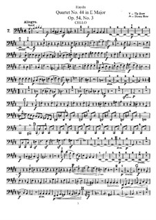 Streichquartett Nr.44 in E-Dur, Hob.III/59 Op.54 No.3: Cellostimme by Joseph Haydn