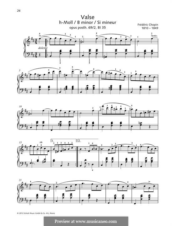 Walzer, Op. posth.69: No.2 in B Minor by Frédéric Chopin