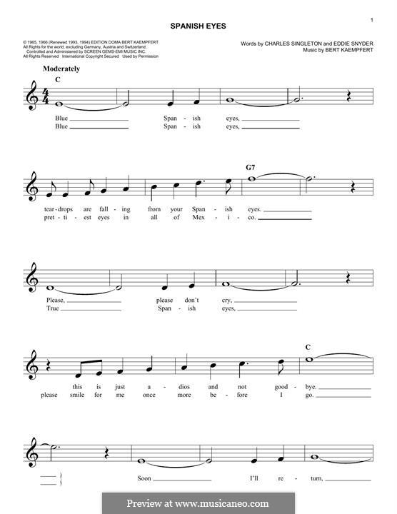 Spanish Eyes (Al Martino): Melodische Linie by Bert Kaempfert, Charles Singleton, Eddie Snyder