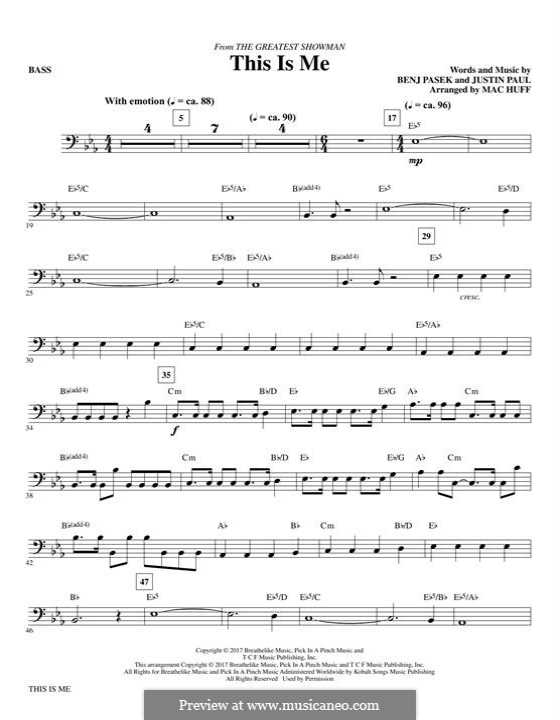 This is Me: Bass part (arr. Mac Huff) by Justin Paul, Benj Pasek