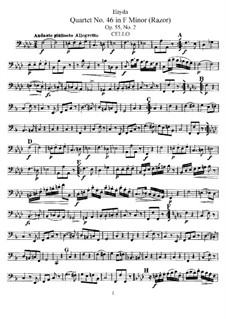 Streichquartett Nr.46 in f-Moll 'Rasiermesser', Hob.III/61 Op.55 No.2: Cellostimme by Joseph Haydn