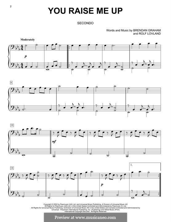 Piano version: For four hands by Brendan Graham, Rolf Løvland