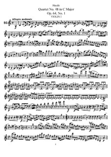 Streichquartett Nr.48 in C-Dur, Hob.III/65 Op.64 No.1: Violinstimme I by Joseph Haydn