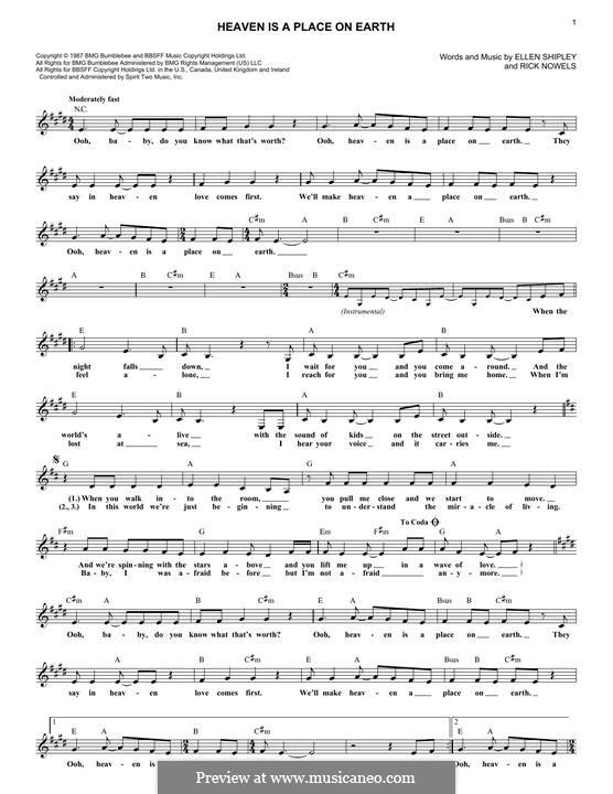 Heaven is a Place on Earthv: Melodische Linie by Ellen Shipley, Rick Nowels