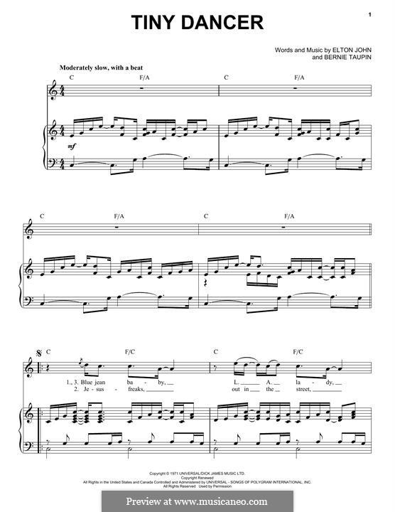 Tiny Dancer: Für Stimme und Klavier by Elton John