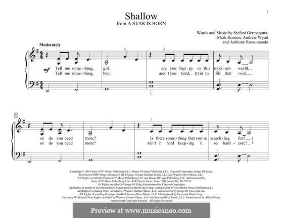 Shallow (from A Star is Born): Für Klavier by Andrew Wyatt, Anthony Rossomando, Mark Ronson, Stefani Germanotta
