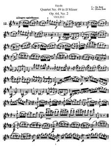 Streichquartett Nr.49 in h-Moll, Hob.III/68 Op.64 No.2: Violinstimme I by Joseph Haydn