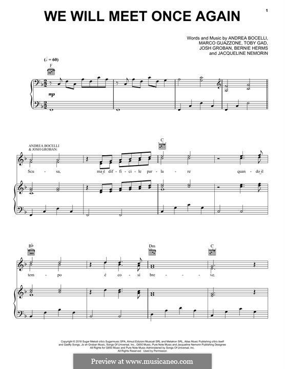 We Will Meet Once Again: Für Stimme und Klavier (oder Gitarre) by Andrea Bocelli, Bernie Herms, Josh Groban, Tobias Gad, Marco Guazzone