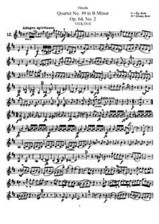 Streichquartett Nr.49 in h-Moll, Hob.III/68 Op.64 No.2: Violinstimme II by Joseph Haydn