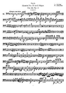 Streichquartett Nr.51 in G-Dur, Hob.III/66 Op.64 No.4: Cellostimme by Joseph Haydn