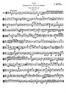 Streichquartett Nr.52 in Es-Dur, Hob.III/64 Op.64 No.6: Bratschenstimme by Joseph Haydn
