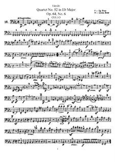 Streichquartett Nr.52 in Es-Dur, Hob.III/64 Op.64 No.6: Cellostimme by Joseph Haydn
