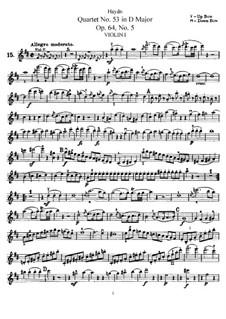 Streichquartett Nr.53 in D-Dur 'Lerche', Hob.III/63 Op.64 No.5: Violinstimme I by Joseph Haydn