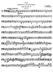 Streichquartett Nr.53 in D-Dur 'Lerche', Hob.III/63 Op.64 No.5: Cellostimme by Joseph Haydn