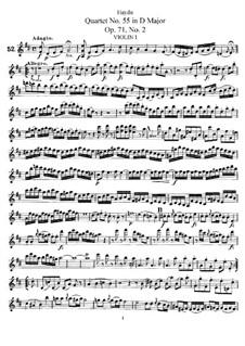 Streichquartett Nr.55 in D-Dur, Hob.III/70 Op.71 No.2: Violinstimme I by Joseph Haydn