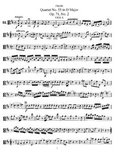 Streichquartett Nr.55 in D-Dur, Hob.III/70 Op.71 No.2: Bratschenstimme by Joseph Haydn