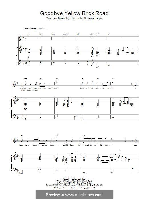 Goodbye Yellow Brick Road: Für Stimme und Klavier (oder Gitarre) by Elton John