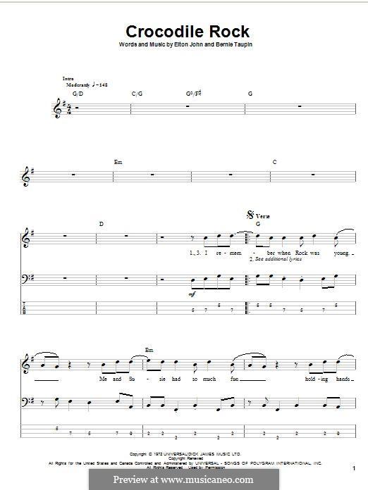 Crocodile Rock: Für Bassgitarre mit Tabulatur by Elton John