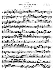 Streichquartett Nr.57 in C-Dur, Hob.III/72 Op.74 No.1: Violinstimme I by Joseph Haydn