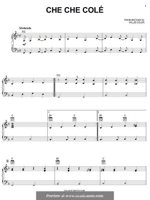 Che Che Cole (Hector Lavoe): Für Stimme und Klavier (oder Gitarre) by Willie Colon