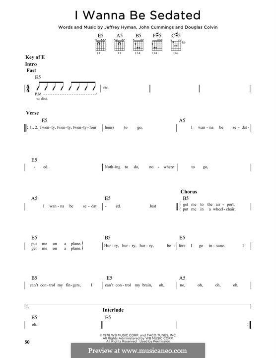 I Wanna Be Sedated (Ramones): Für Gitarre mit Tabulatur by Dee Dee Ramone, Jeffrey Hyman, John Cummings