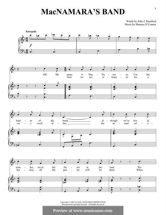 MacNamara's Band: Für Stimme und Klavier by Shamus O'Connor