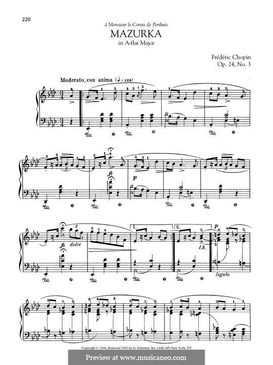 Mazurkas, Op.24: No.3 in A Flat Major by Frédéric Chopin
