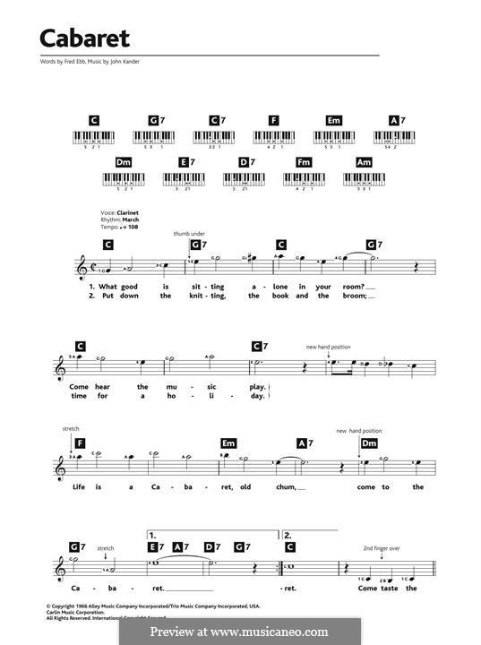 Cabaret (Liza Minnelli): Melodische Linie by John Kander