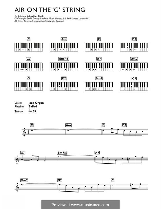Aria (Printable Scores): Version for keyboard by Johann Sebastian Bach