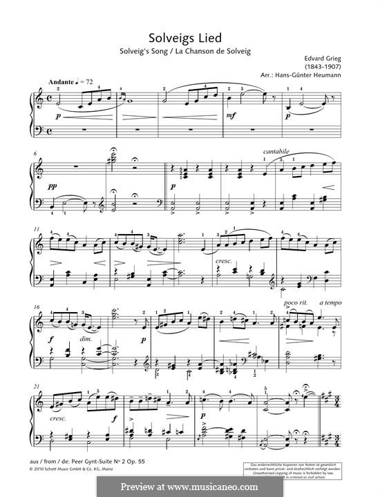 Suite Nr.2, Op.55: Solveig's Song, for piano by Edvard Grieg