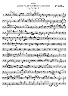 Streichquartett Nr.59 in g-Moll 'Reiter', Hob.III/74 Op.74 No.3: Cellostimme by Joseph Haydn