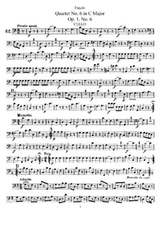 Streichquartett Nr.6 in C-Dur, Hob.III/6 Op.1 No.6: Cellostimme by Joseph Haydn